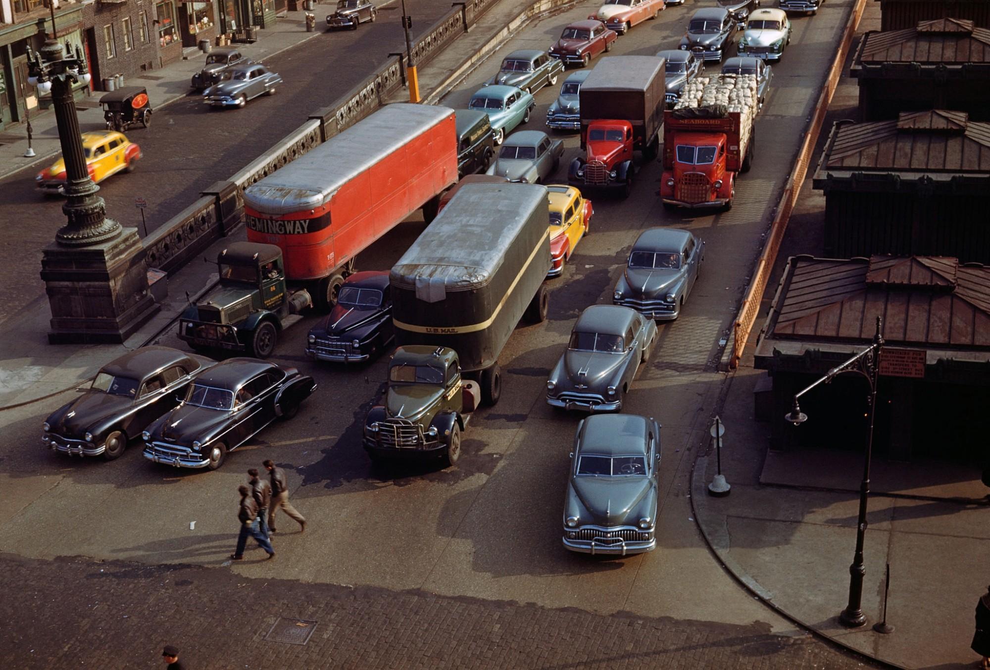 1950 Нью-Йорк, съезд с моста Куинсборо на Манхэттен