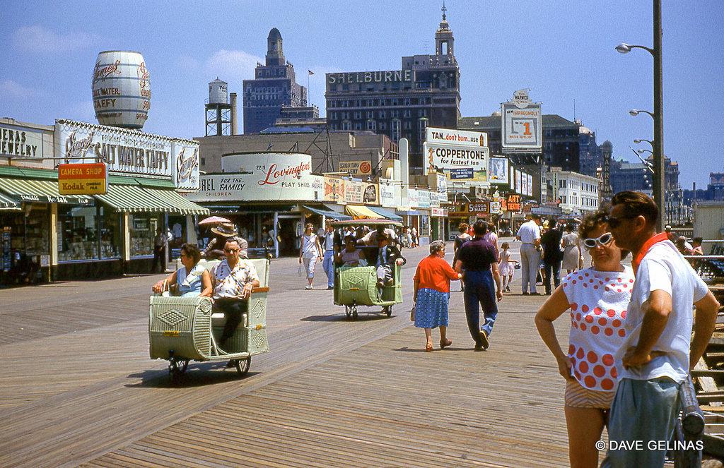 1960c Atlantic City - Boardwalk Scene