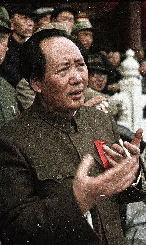1949 Негатив цветной. Глава коммунистической партии Китая Мао Цзэдун на площади Тяньаньмэ́нь 1 октября 1949 года. Провозглашение Китайской Народной республики. Микоша