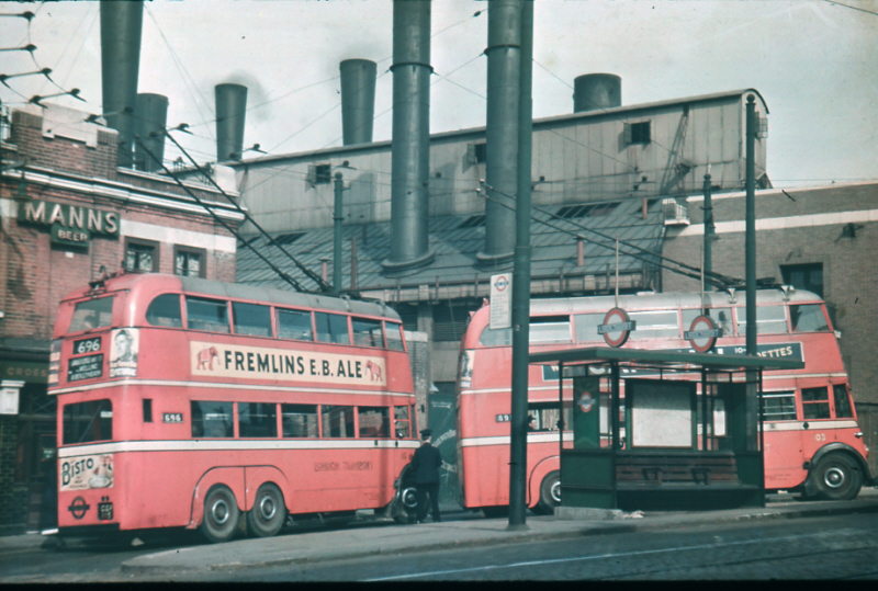 1938 London Transport trolley busses at Woolwich Ferry terminus