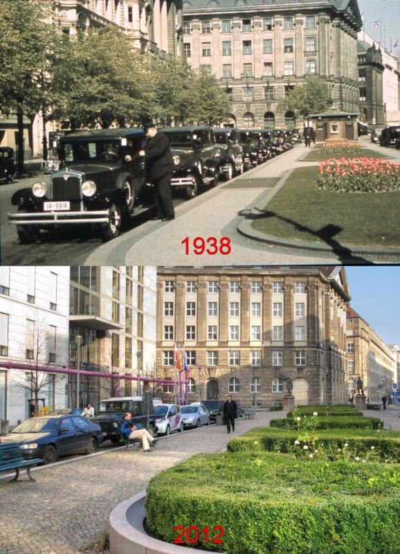 Vor dem ehemaligen Hotel Kaiserhof 1938 und 2012