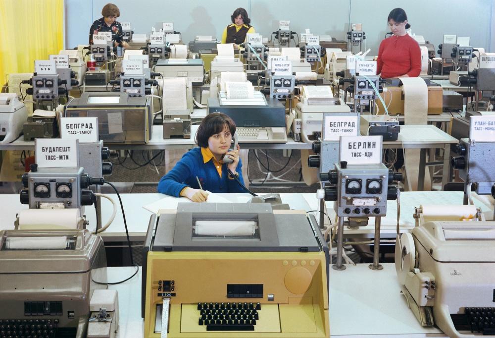 1978 Телетайпный зал в Телеграфном агентстве Советского Союза, 1978 год Фотохроника ТАСС
