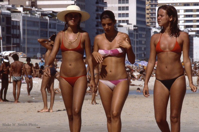 Leblon, Ipanema, Copacabana beach activity, Rio, Brazil, Feb 1978