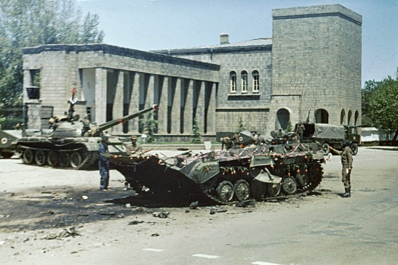 Outside the Presidential Palace in Kabul, a day after the Marxist revolution on April 28, 1978a