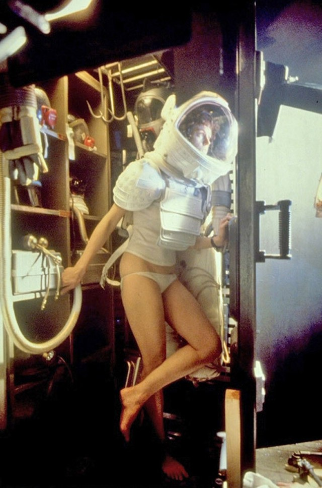 Сигурни Уивер на съемках фильма Alien, 1978