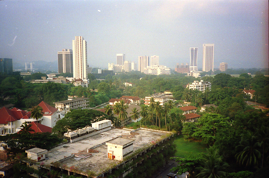1988 Kuala Lumpur view from Merlin Hotel (now Concorde) in direction of what is now KLCC