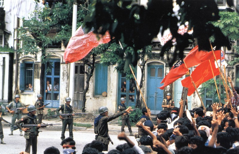 August 6, 1988 demonstrators gathering in central Rangoon to protest against the government2