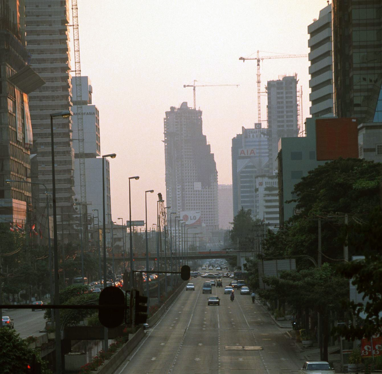 1998 Bangkok Friday evening rush hour empty streets due to Thailand's economic crash of 1997