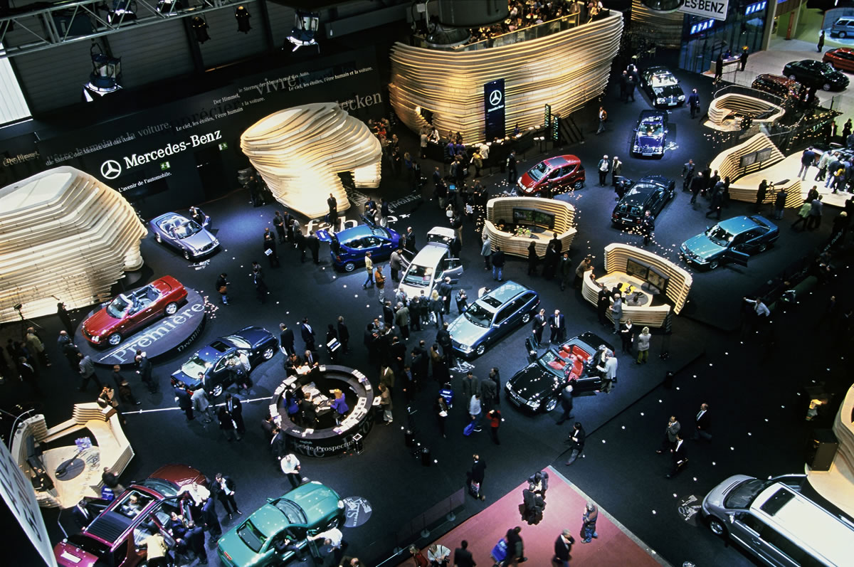 1998 Mercedes-Benz always welcomes the visitors to the Geneva Motor Show on a stand with a special architectural design