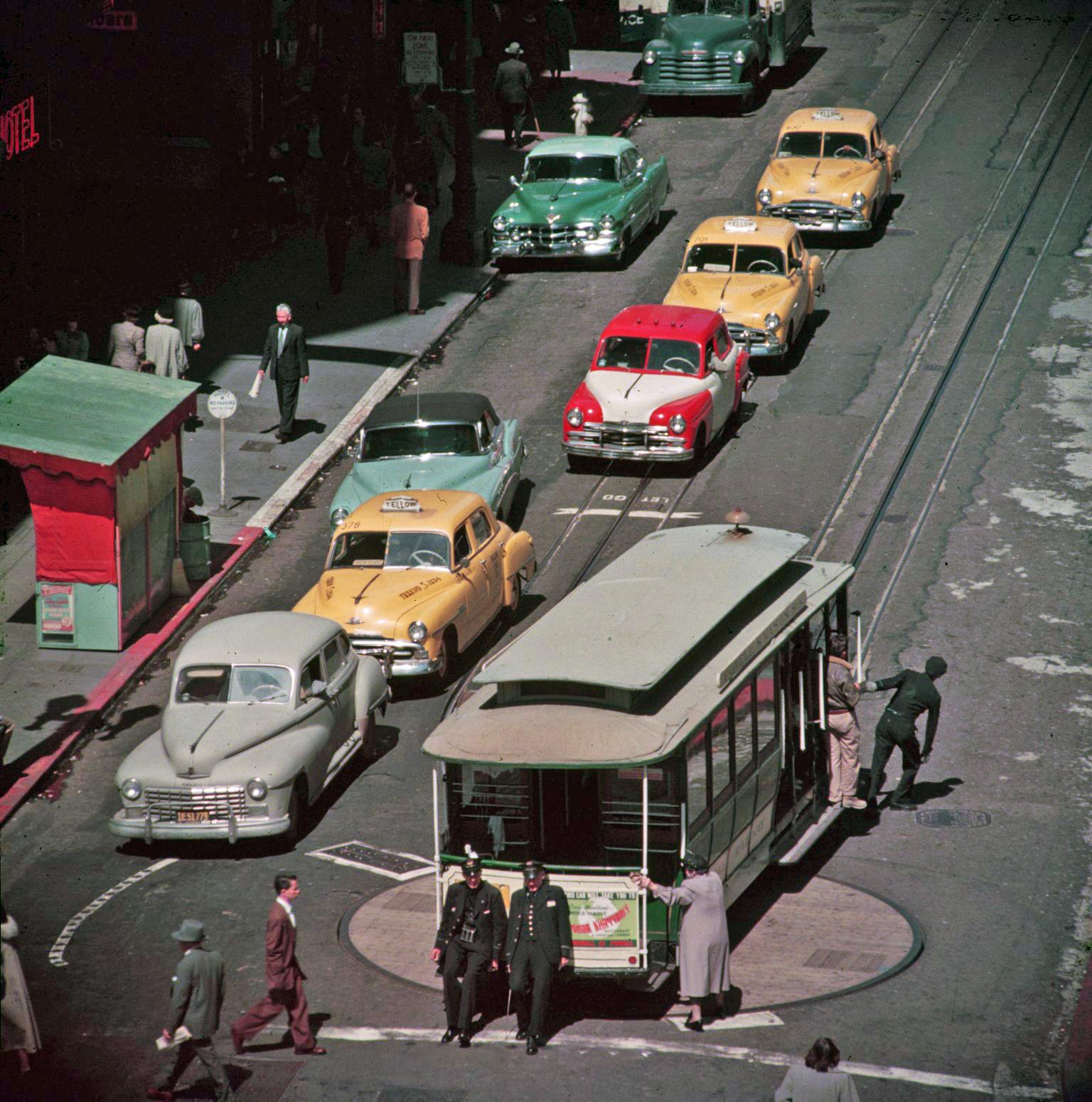 Разворот трамвая в Сан-Франциско, ок. 1950 г.