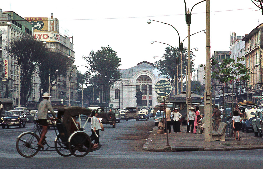 1968 Saigon looking down Le Loi at the National Assembly (Opera House)