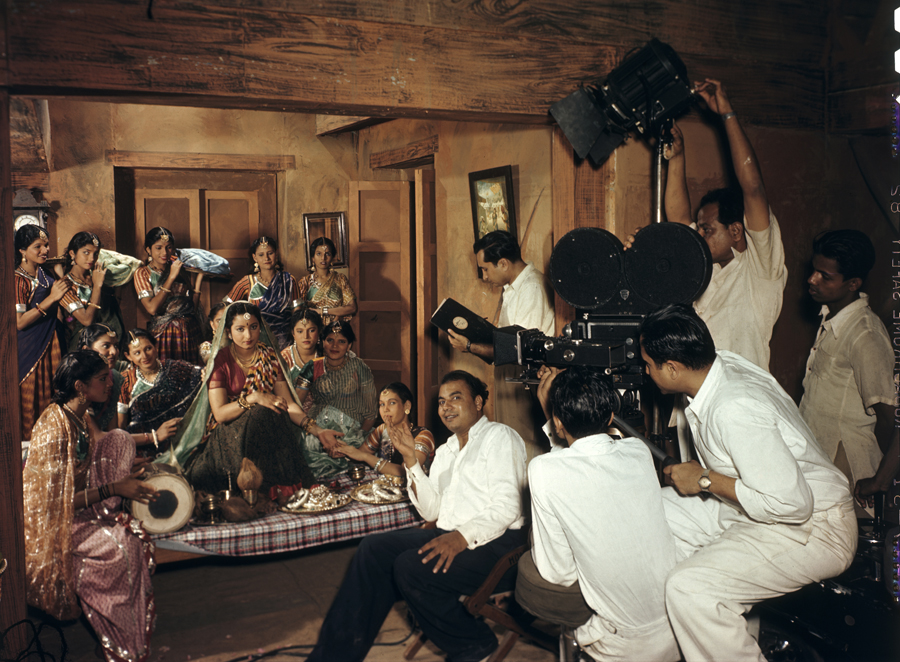 1948 An Indian movie crew filming a wedding scene at Famous Studios in Bombay by Wentzel