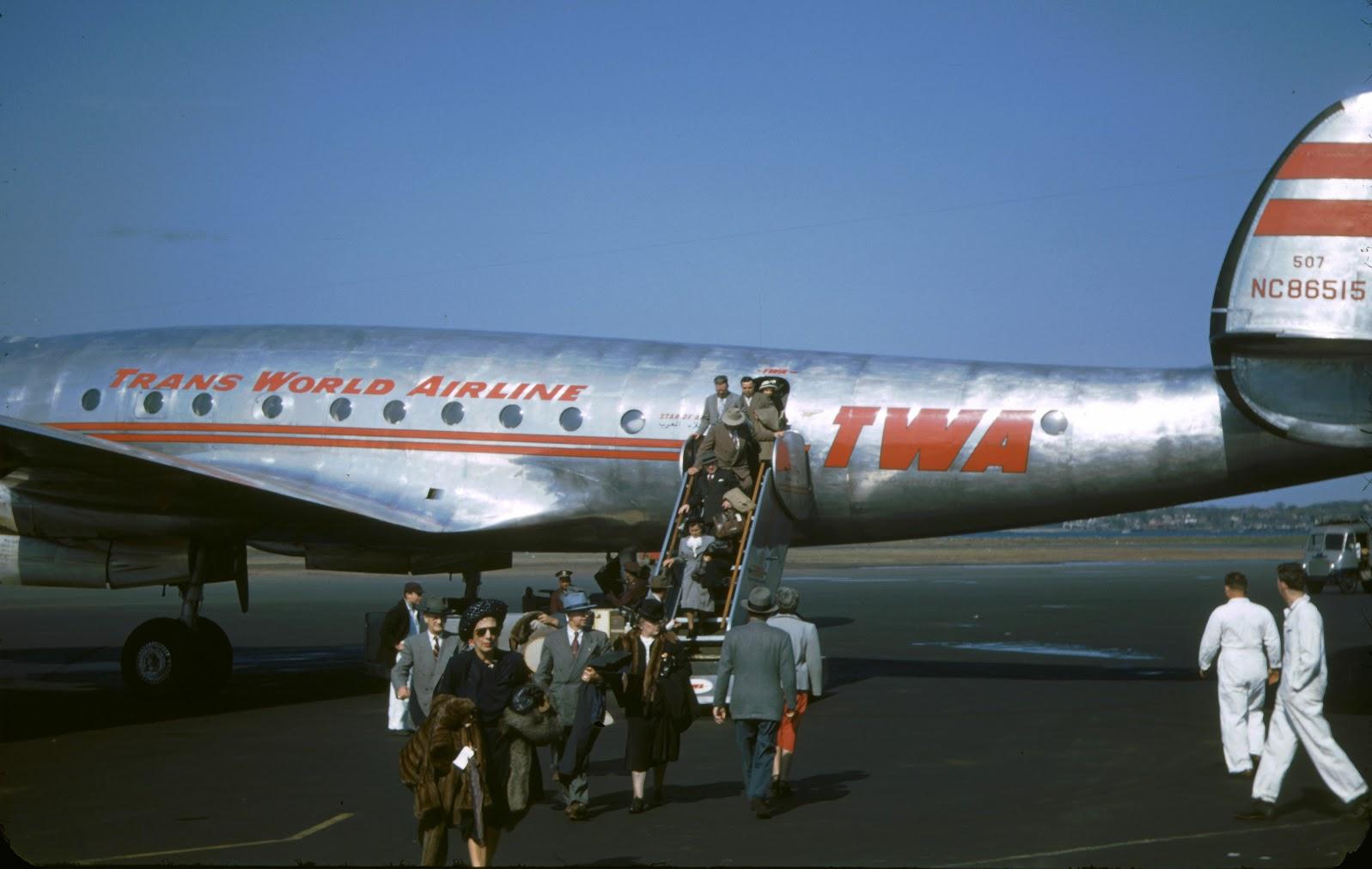 1948 NY Leaving plane at LaGuardia Field