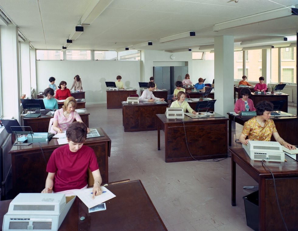 1968 Administration office at Huntsman House, headquarters of Tetley's brewers in Leeds, West Yorkshire