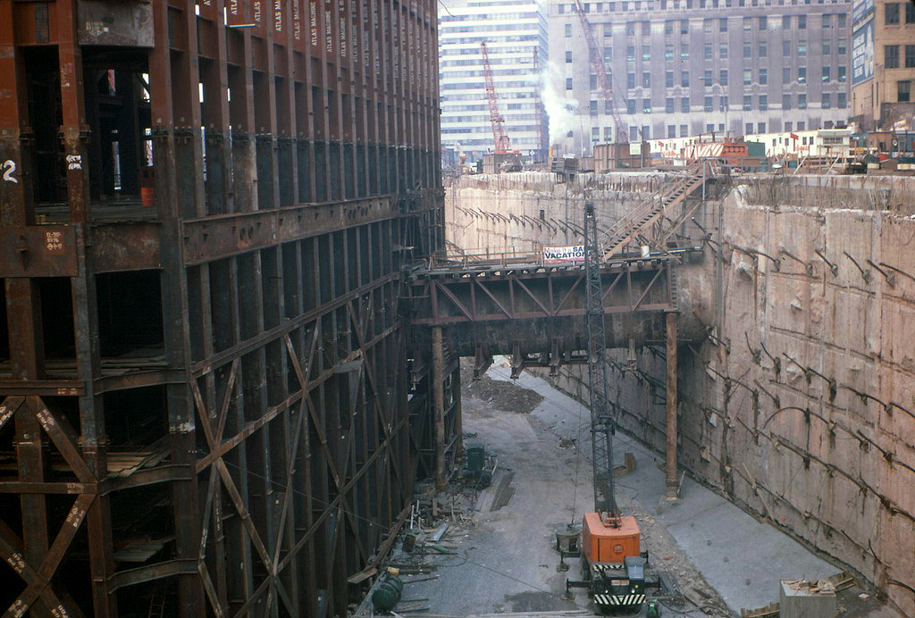 1968 Construction view of the original World Trade Center South tower looking northeast