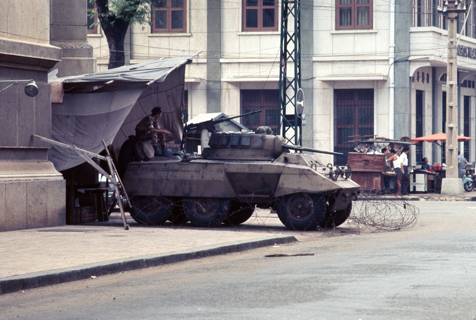 1968 Saigon  National Field Police armored car near port
