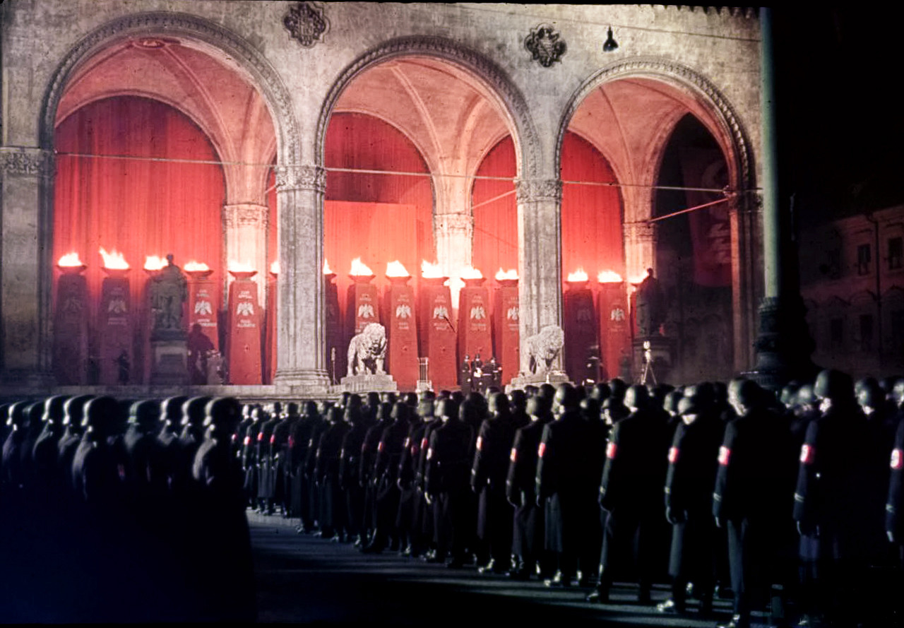 1938 Annual midnight swearing-in of SS-men in the Feldherrnhalle Munich by Hugo Jaeger