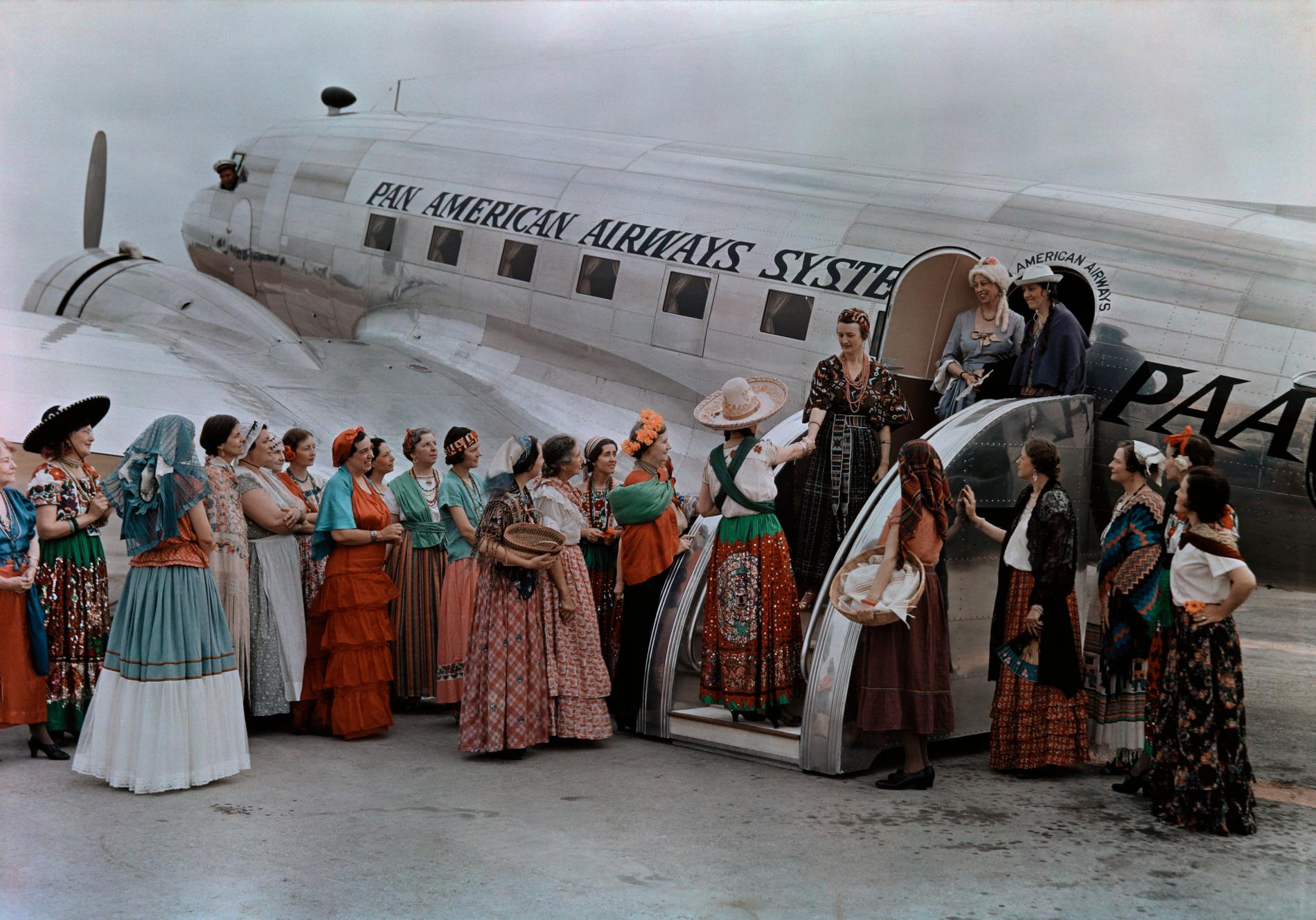 1938 Women Greeting a Pan Am Flight, Brownsville, Texas, Anthony Stewart