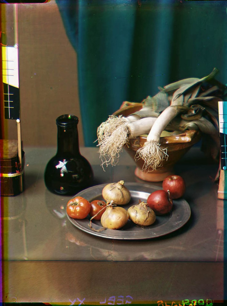 Still life with vegetables including leek and onions