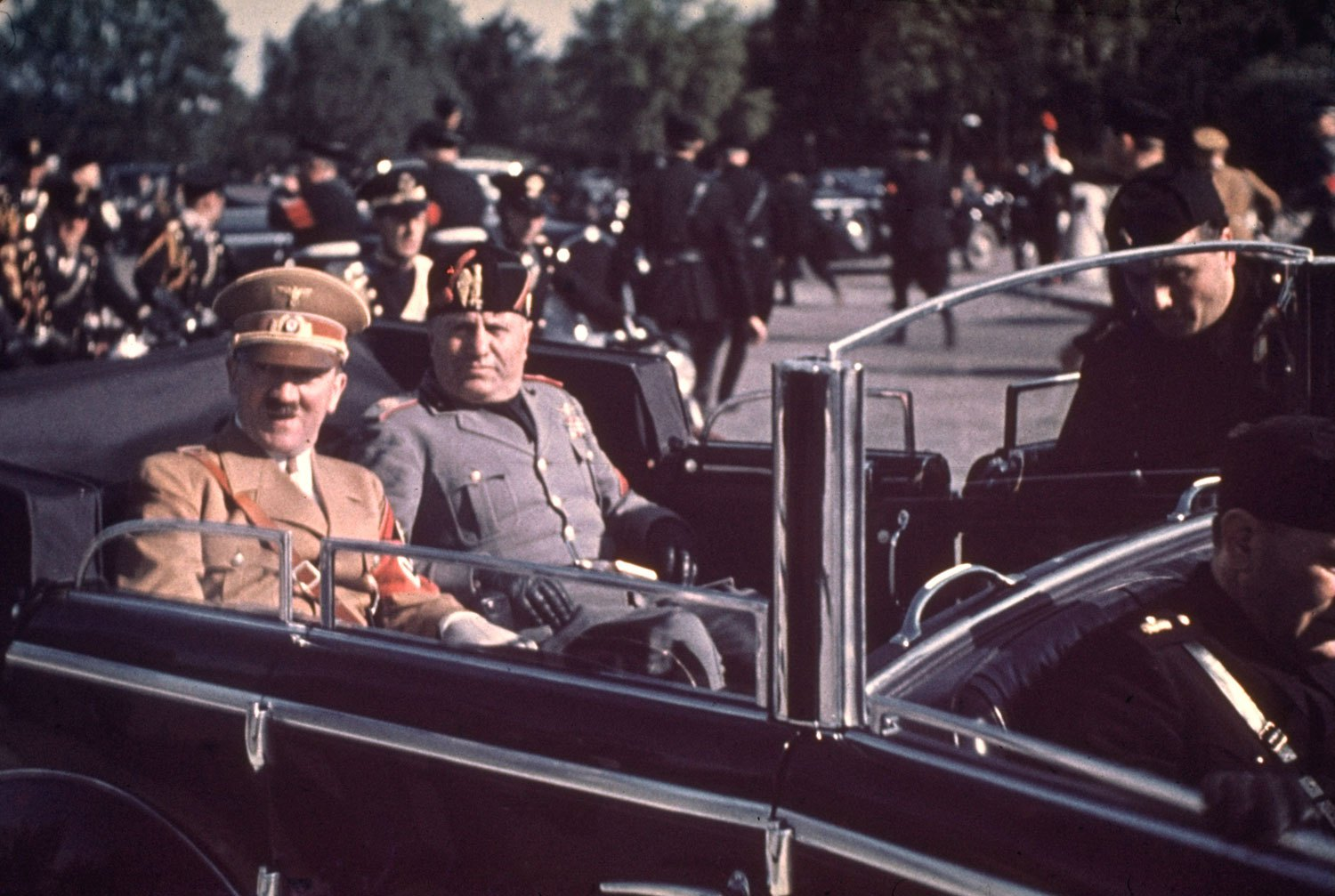 Adolf Hitler and Benito Mussolini during Hitler 1938 state visit to Italy