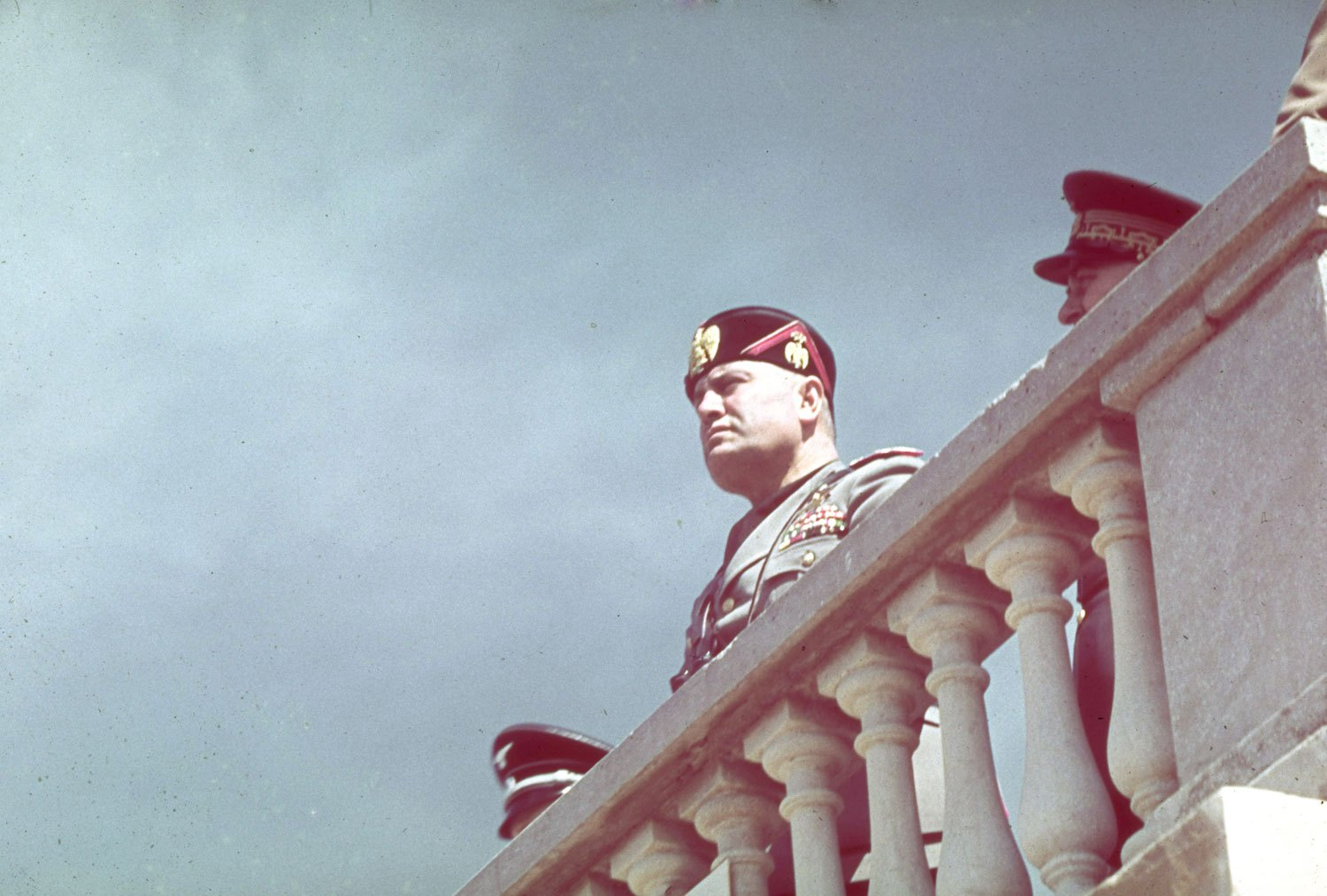 Benito Mussolini during Adolf Hitler 1938 state visit to Italy