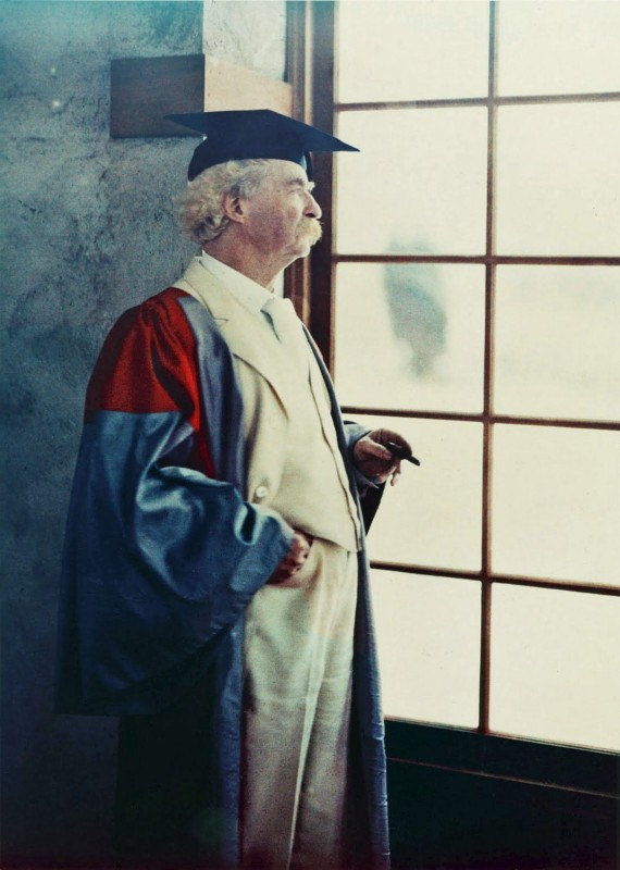 Autochrome of Samuel Clemens in Oxford Robes, Dec. 21, 1908. by Alvin Langdon Coburn