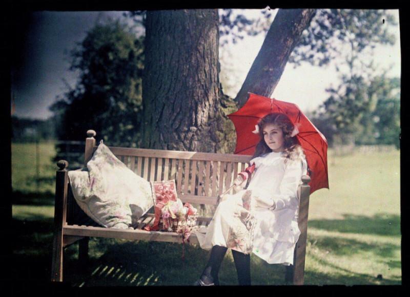 Цветные фотографии (автохром) Этельдреды Лэинг, запечатлевшей своих дочерей 1908 году4