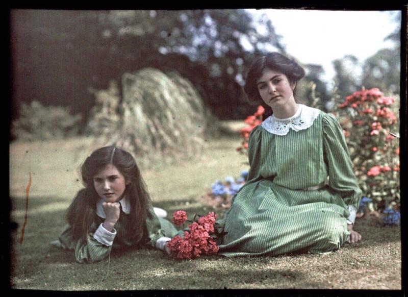 Цветные фотографии (автохром) Этельдреды Лэинг, запечатлевшей своих дочерей 1908 году5
