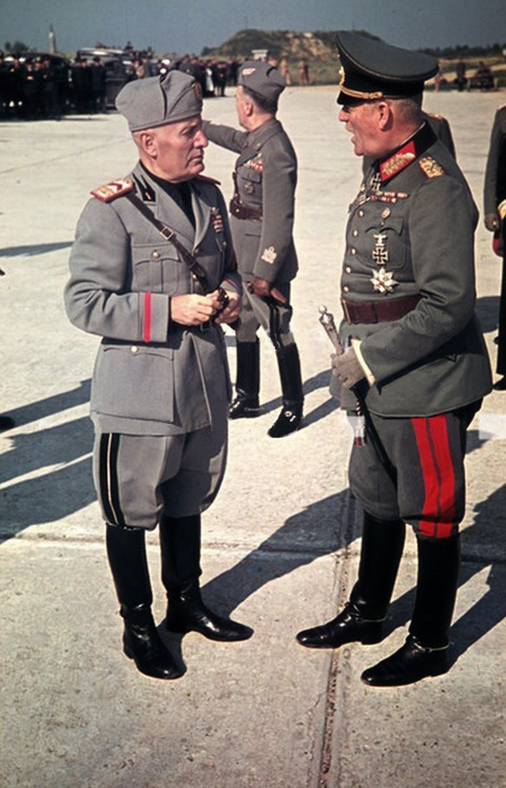 1943 19 july Benito Mussolini Speaks with Wilhelm Keitel at Feltre Airfield