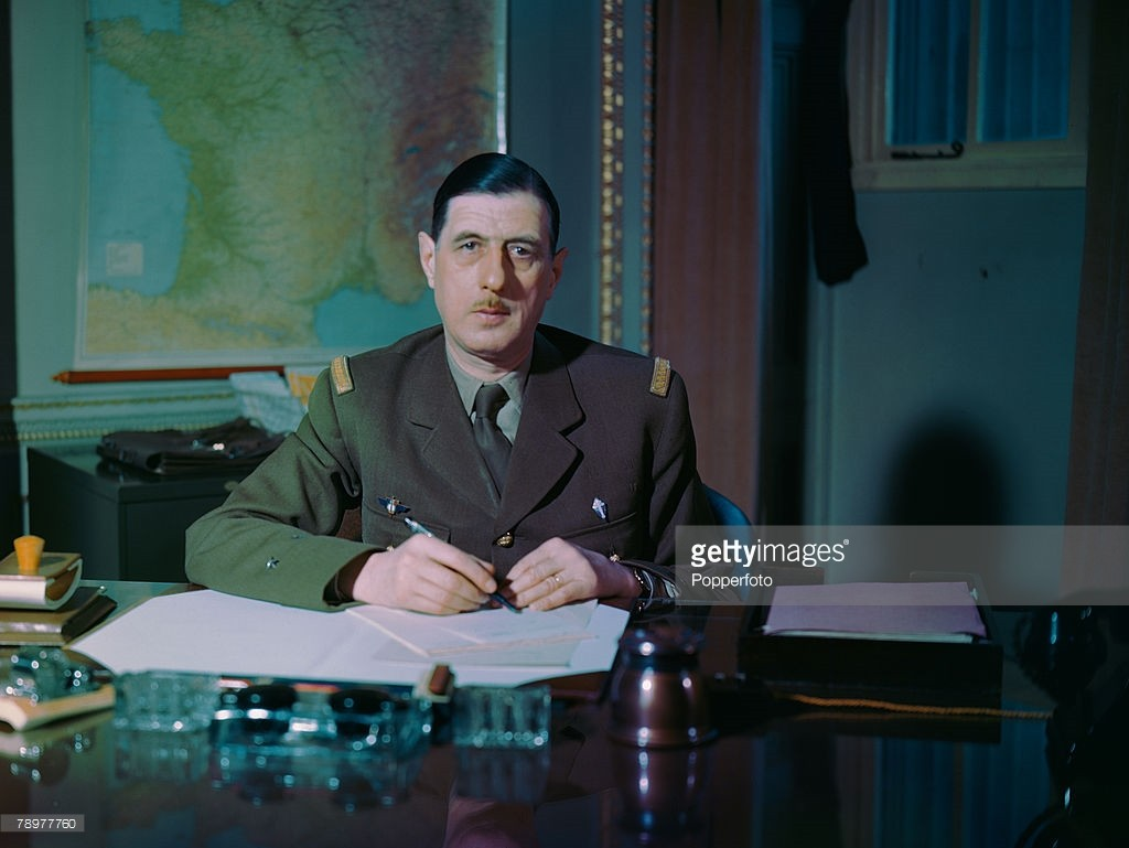1943, French statesman and General Charles de Gaulle (1890-1970) photographed at the Free French H,Q, at Carlton Gardens, London