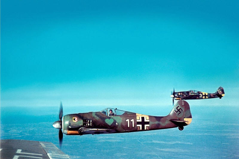 German Focke-Wulf Fw 190A-5 fighters, of Fighter Squadron JG54, during flight, 1943