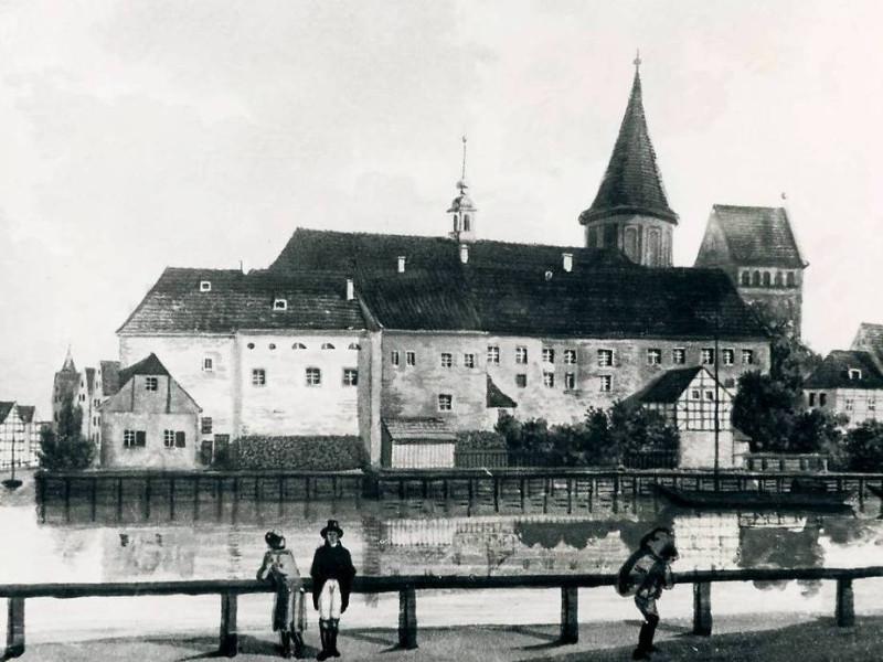 1800c Кёнигсберг, вид на старый ун-т Альбертина и собор с набережной Фишбрюке около 1800 года