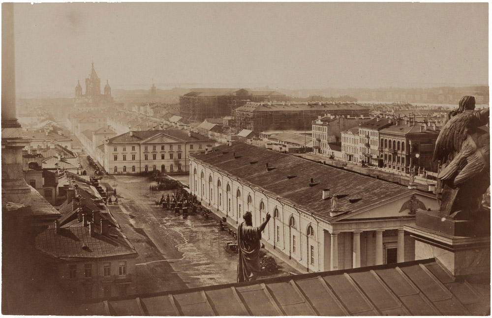 1858 Пьер-Амбруаз Ришбур. Перспективный вид с Исаакиевского собора в сторону Благовещенской площади. Собрание ГМИСПб