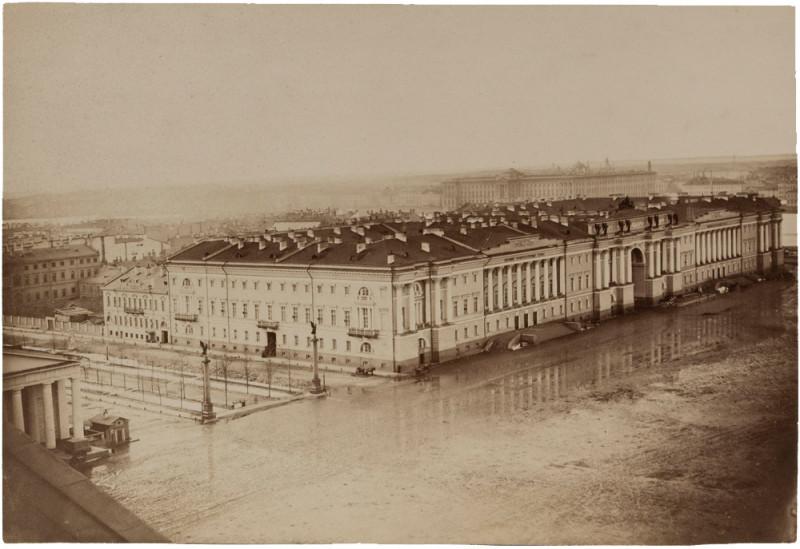 1858 Пьер-Амбруаз Ришбур. Перспективный вид с Исаакиевского собора на здание Сената и Синода. 1858. Собрание ГМИСПб