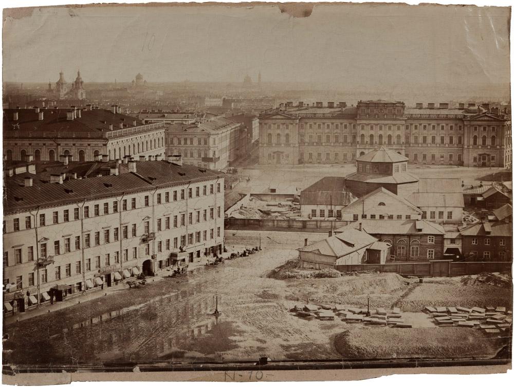 1858 Пьер-Амбруаз Ришбур. Перспективный вид с Исаакиевского собора на Мариинский дворец. Собрание ГМИСПб