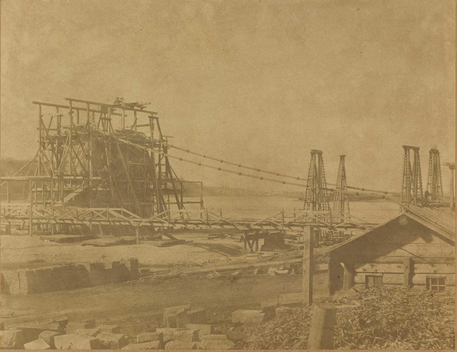 Николаевский цепной мост в Киеве. 1852 и 1853 гг.