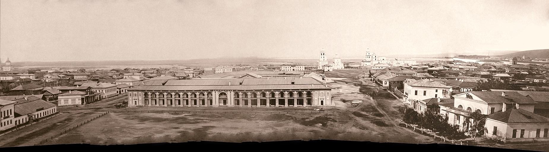 Вид на Гостиный двор с Тихвинской церкви 1860 год