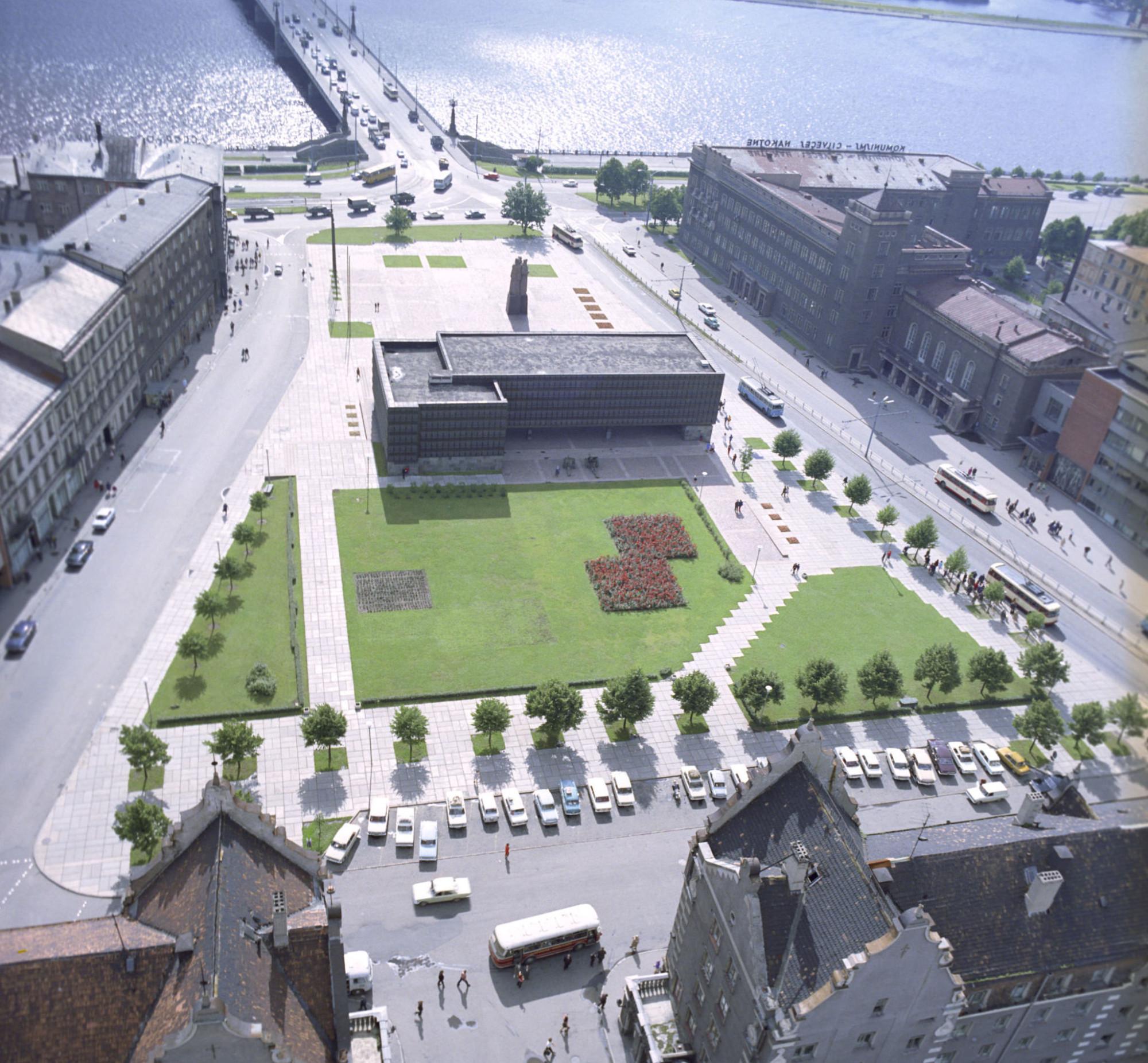 1974 Вид сверху на площадь Красных латышских стрелков в Риге