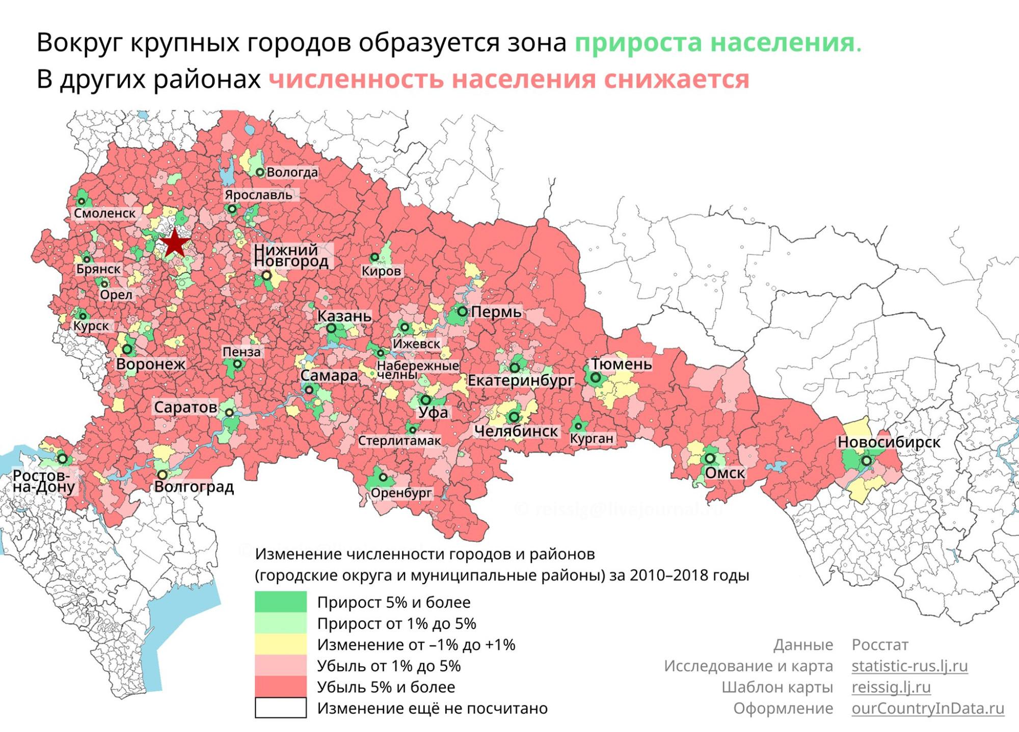 Россия съезжается в города