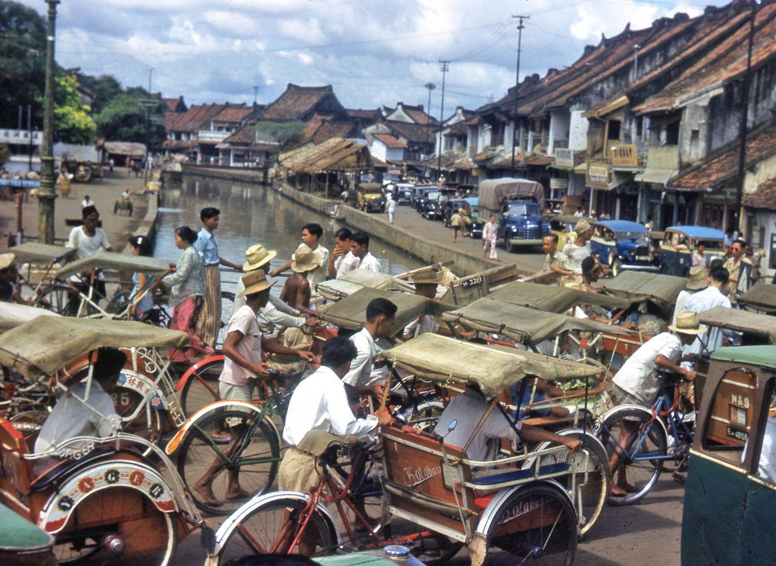 1949с Java Old Batavia Djakarta Street Scene Traffic