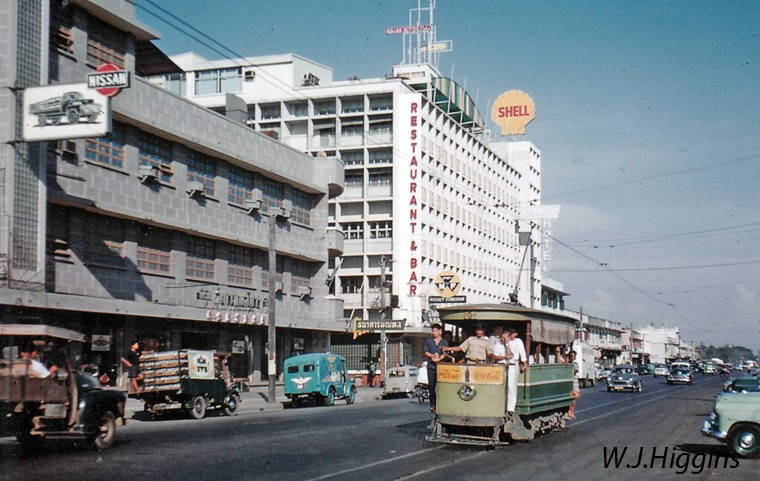 1959 Bangkok Tram of the Patumwan line on Thanon Rama I Road near the Grand Hotel