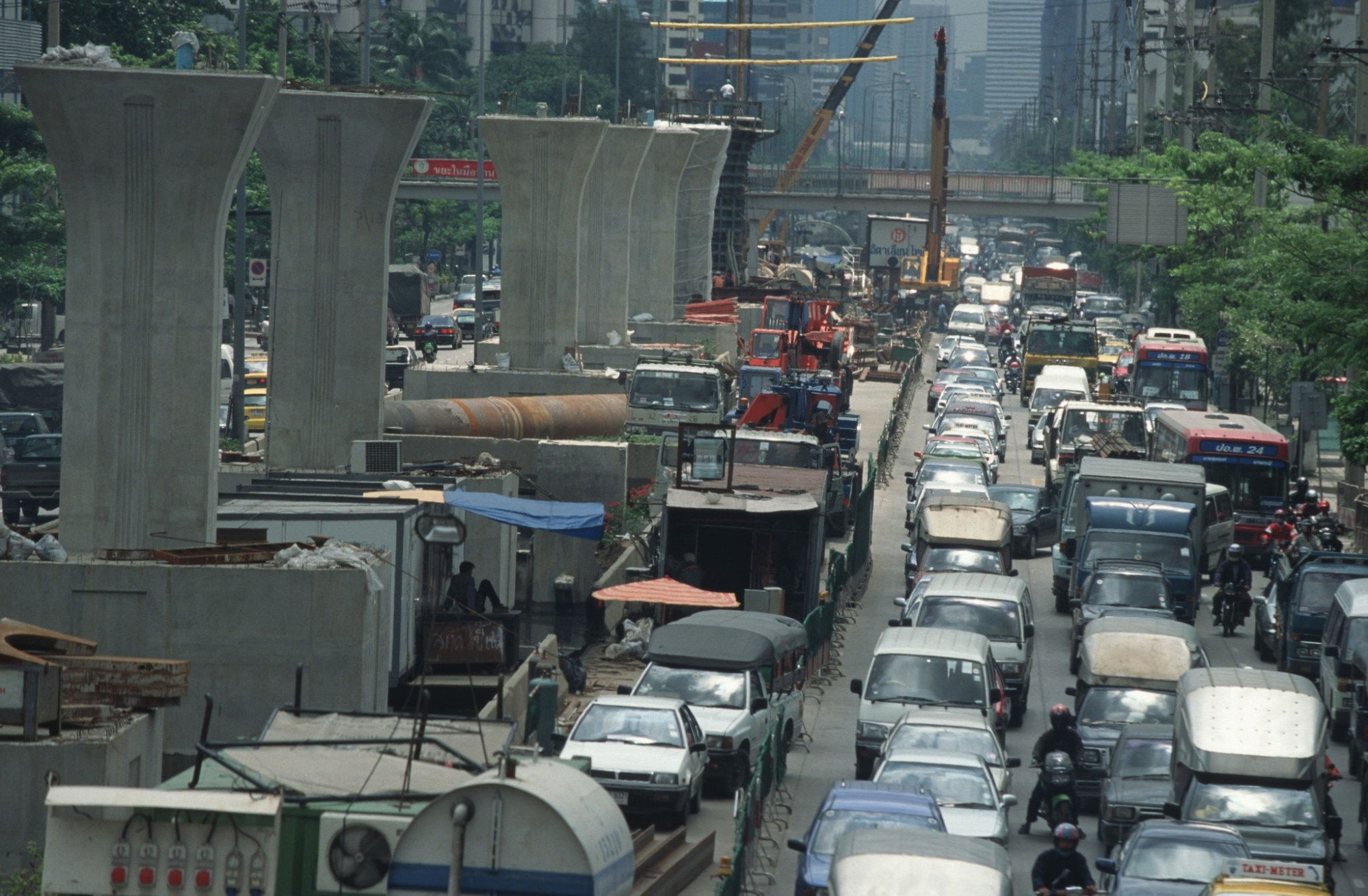1999 Bangkok Traffic chaos caused by the construction of elevated mass transit rail system known as the Sky train