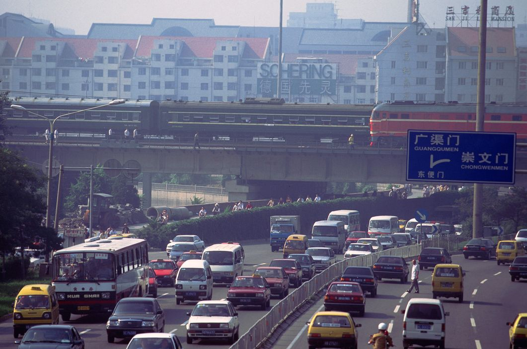1999 Beijing morning rush-hour traffic on the second ring road by Stuart Franklin