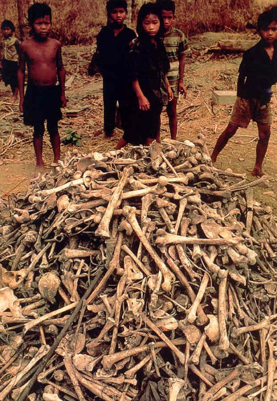 A pile of human bones as the by-product of the Khmer Rouge revolution in Cambodia – 1979