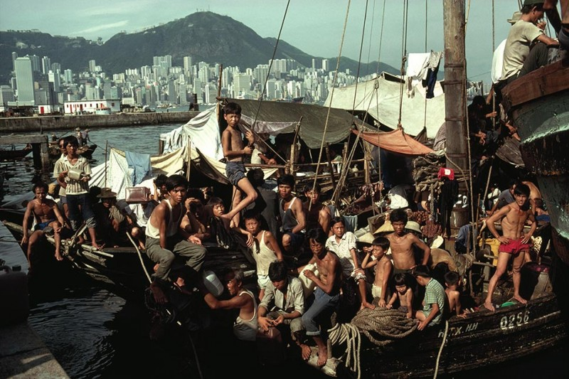 Ethnic Chinese refugees from Vietnam are confined to a dockyard camp in Hong Kong on Nov. 1, 1979 by William Allard