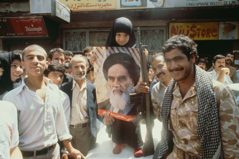 1979 People show their support for Ayatollah Khomeini in the streets of Tehran. Photo by Christine Spengler