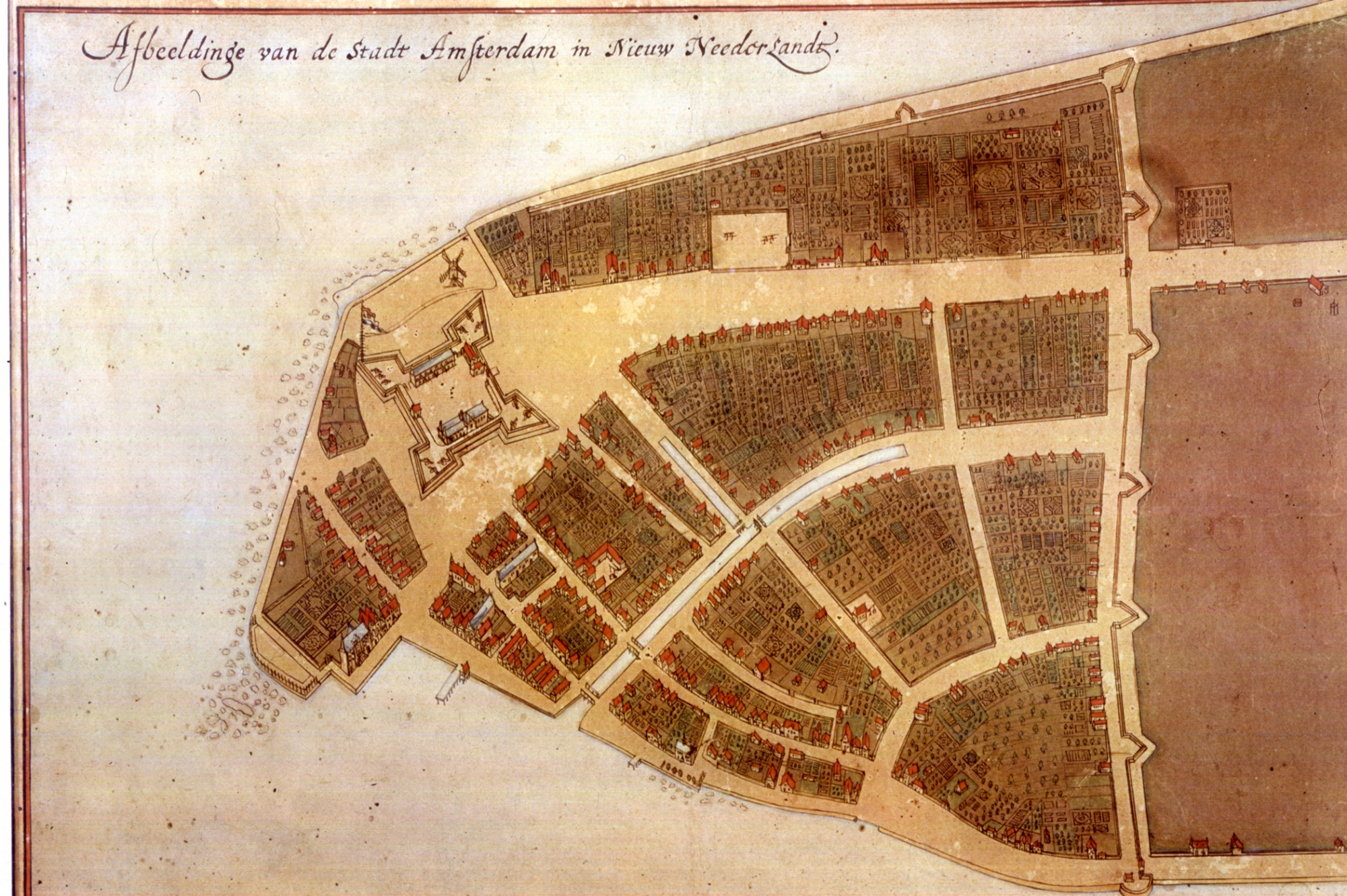 1660 Castello map, Whitehall stands out by its white roof and extensive garden