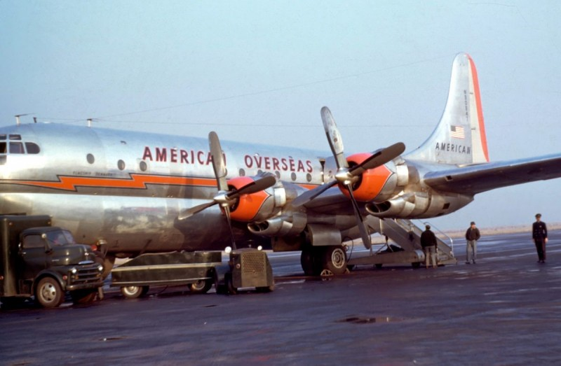 1949 A Boeing 377 Stratocruiser four-engined piston airliner registered in the United States as N90947 and operated by American Overseas Airline