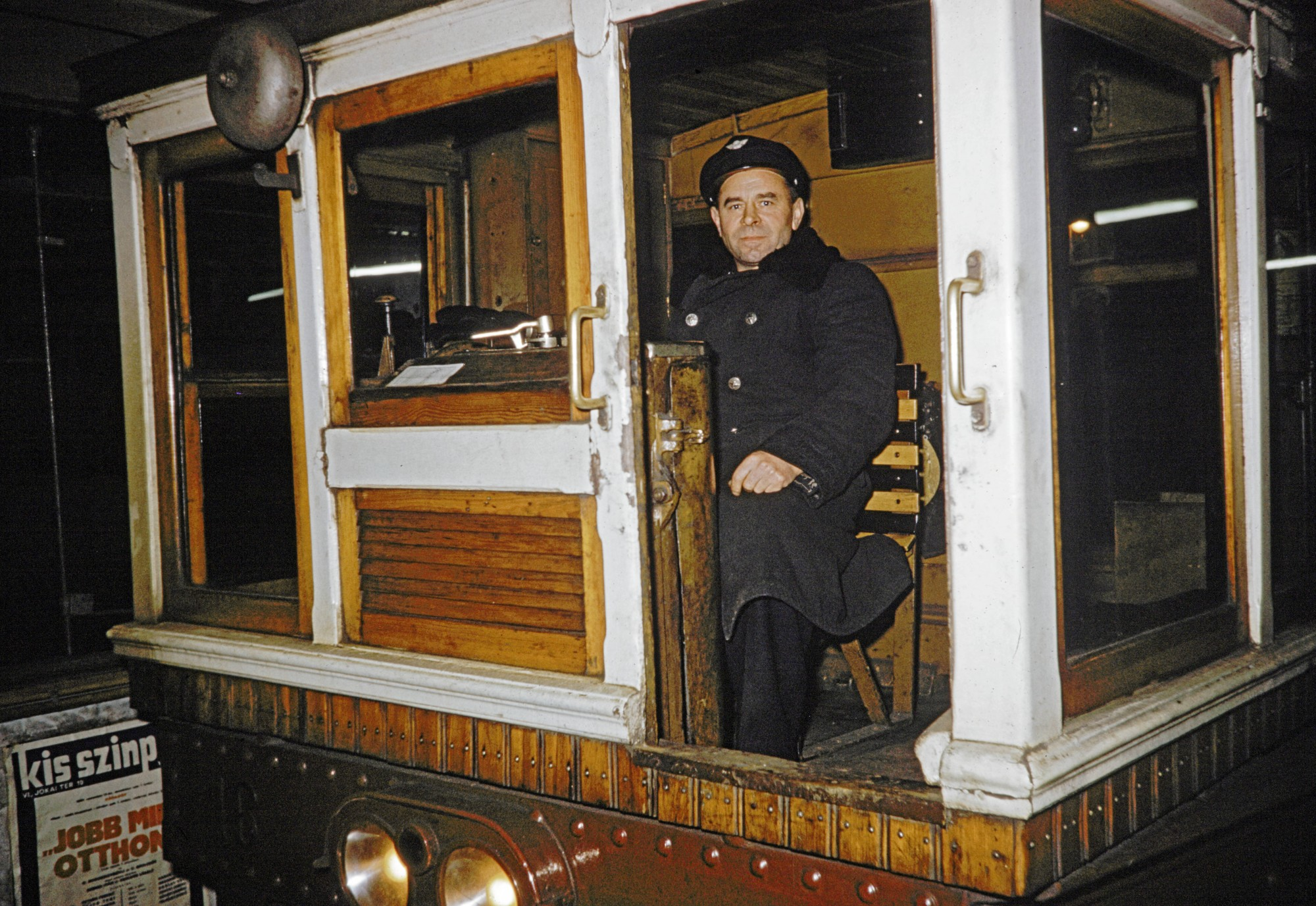 1960с motorman on subway train in Budapest