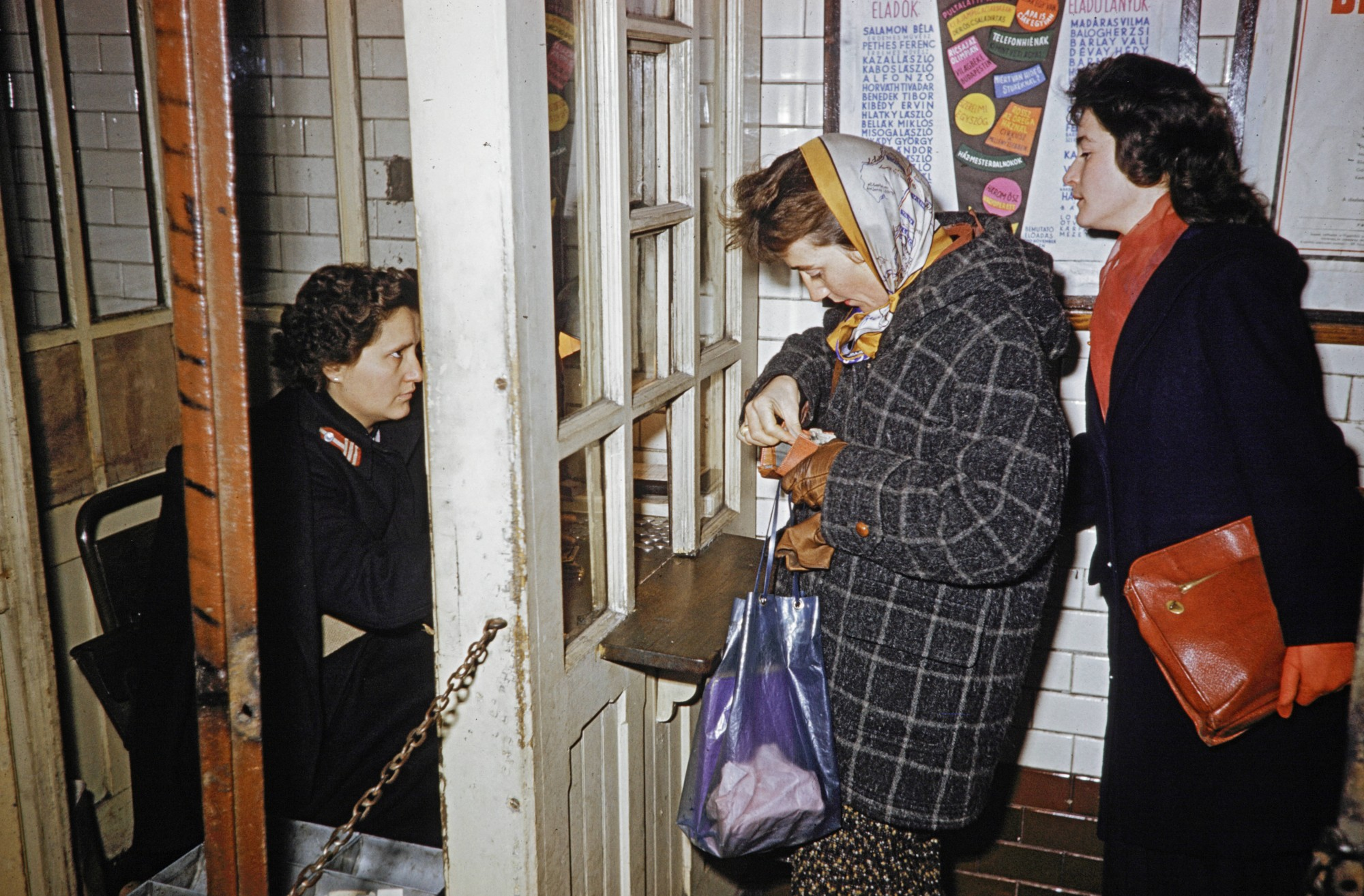 1960 Budapest, women purchasing subway tickets in Budapest